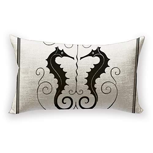 Hustor Funda de almohada de lino y algodón, estilo vintage para sofá, cama, coche, 12 x 20 pulgadas