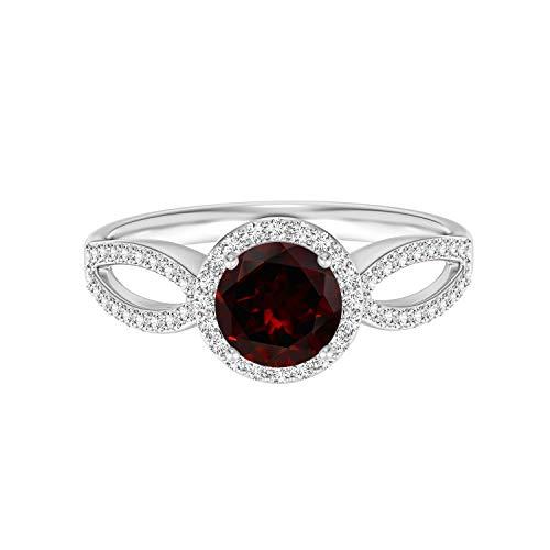 Shine Jewel Estilo Vintage 0,75 Ctw Ronda Cortar Piedra Preciosa de Granate Plata de Ley 925 Solitario apilable Anillo Art Deco (19)