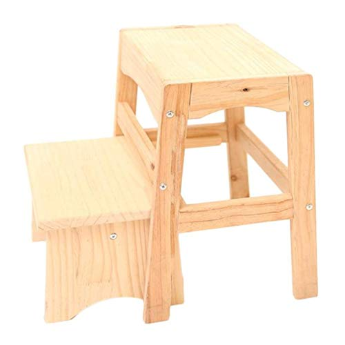 2 Stufen aus Holz Schritt Hocker Startseite Adult Schuhe Bank aufsteigende Hocker Klettern Hoch Hocker Kindersitzbank laden 200kg (Color : Wood Color)