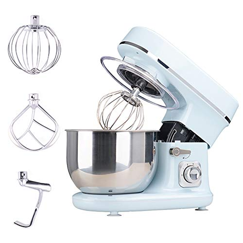 Stand Mixer, 6 Speeds Tilt-Head Food Processors 5.5 L Stainless Steel Mixing Bowl Includes Beater Dough Hook and Whisk Can Handle Thick Mixtures (Color : Blue)
