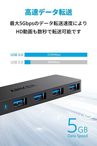 AnkerUSB3.0ウルトラスリム4ポートハブ(改善版),USBハブ60cmケーブルバスパワー軽量コンパクトMacBook/iMac/SurfacePro等ノートPC他対応USBハブテレワークリモート在宅勤務