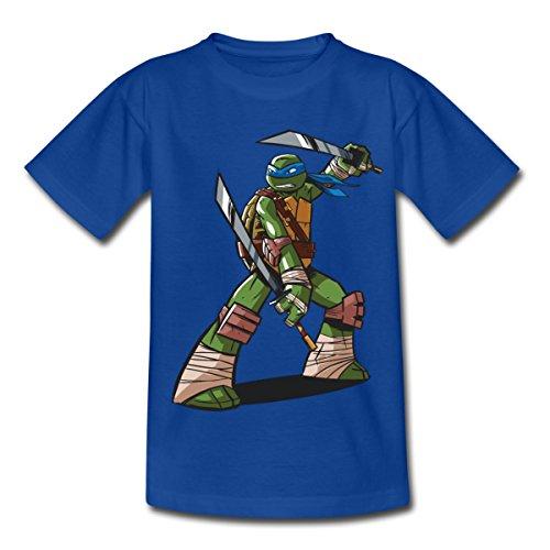 TMNT Turtles Leonardo Bereit Zum Kampf Kinder T-Shirt, 122-128, Royalblau