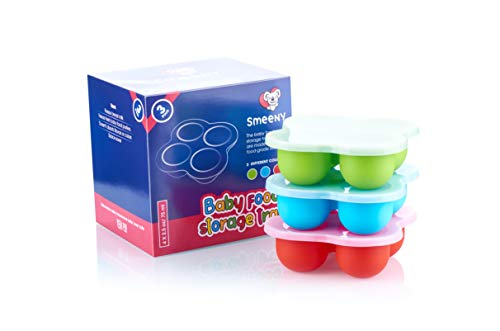 Smeeny Silicone Baby Food Freezer Trays Pack of 3, Homemade Food and Ice Cube Storage Containers for Vegetable and Fruit Purees, Stackable, Microwave and Dishwasher Safe