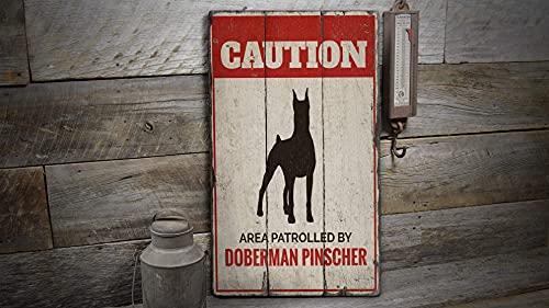 Aperiy Varningsskylt Doberman ägare skylt se upp för stor hund antik hundälskare metallskyltar bar och grill 40,6 x 30,5 cm