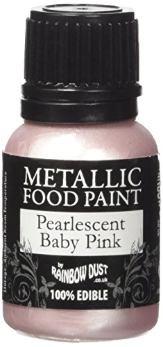 Rainbow Dust Metallic-Lebensmittelfarbe Perlmutt Baby Pink, 1er Pack (1 x 25 ml)