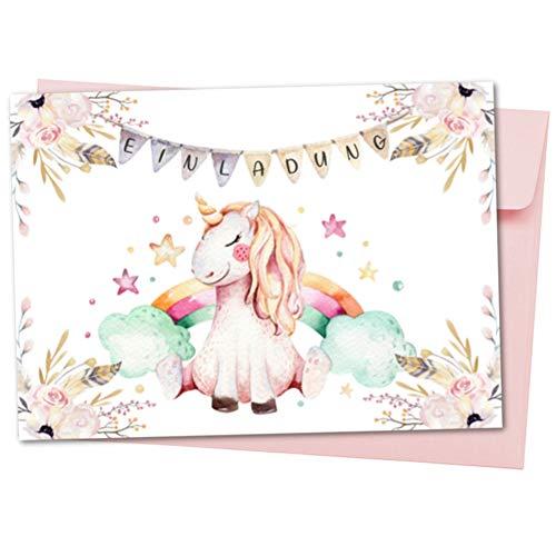 Pandawal Kindergeburtstag Einladungskarten Mädchen 10x süße Einhorn Karten mit Rosa Umschläge tolle Einladung für Kinder Ideal für Geburtstag Kinderparty Pyjama Party