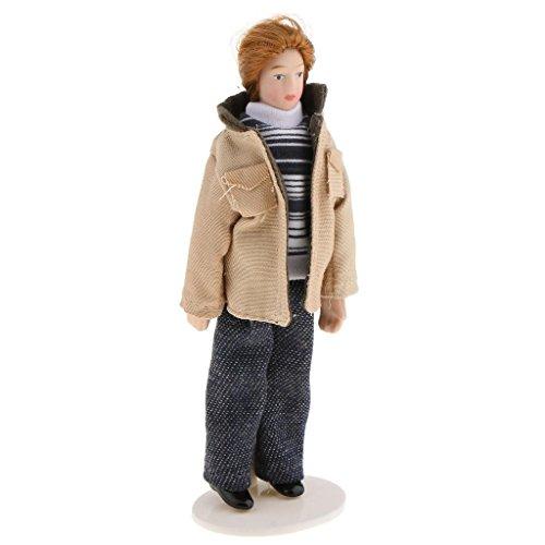 ACAMPTAR 1/12 Massstab Dollhouse Menschen Miniatur-Puppe modernen Jungen Mann in Khaki Jacke