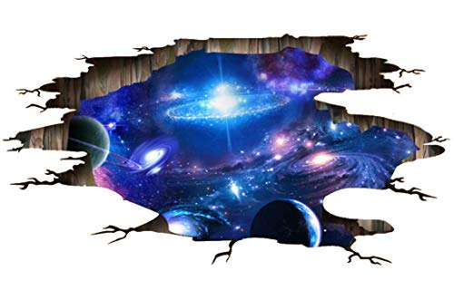 OFISSON 3D Galaxy Wall Sticker Decals Space Removable Art Home Decoration Floor Illusion XL - 35.4x23.6 inches