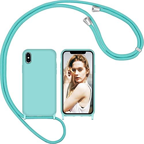 Nupcknn Funda de silicona líquida para iPhone X iPhone XS, funda para el cuello (extraíble), funda con cordón para colgar, funda para teléfono móvil con banda (azul glaciar)