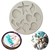 Marine Theme Cake Fondant Silicone Mold,Seashell, Conch, Starfish, Fish,Under the Sea Style Handmade Pastry Baking Molds for Cookie Chocolate Candy Decoration