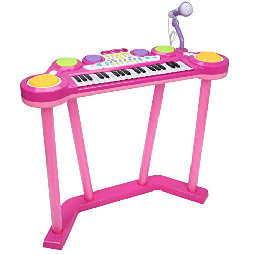 Costzon 37-Key Electronic Keyboard and Drum Musical for Kids, Multi-Function Toy Electronic Organ Piano with Flashing Legs and Microphone, Teaching Toys Birthday Christmas Day Gifts for Kids (Pink)