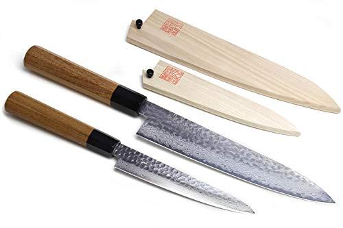 Yoshihiro 46 Layers Hammered Damascus Gyuto Chef Knife and...