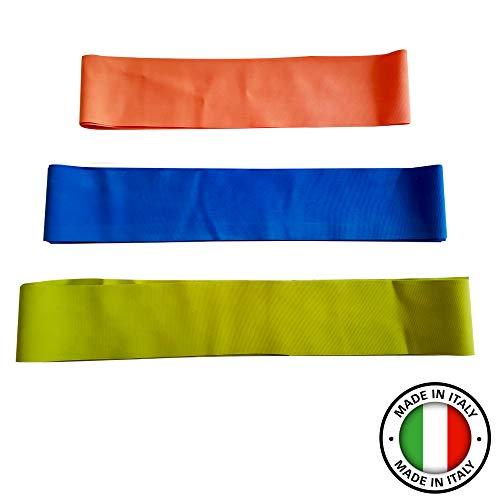 Hic et Nunc Sport Elastici Fitness 100% Made in Italy Elastici per Palestra (3 Pezzi) 150 cm, 180 cm, 200 cm - Fasce Elastiche Fitness Palestra in Casa - Bande Elastiche Fitness Home Gym