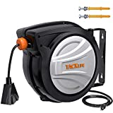 Retractable Extension Cord Reel TACKLIFE, 50FT+4.5, 14AWG SJTOW Electric Power Cord Reel, Slow Retraction Technology with Triple Socket, Auto Rewind and Lock at Any Length
