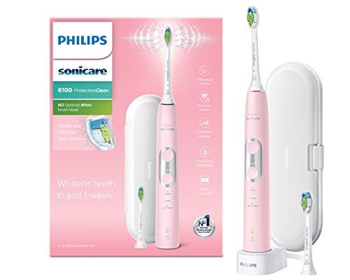 Philips HX6876/29 Elektrische tandenborstel voor volwassenen, roze, wit, elektrische tandenborstel (accu, lithium-ion-accu, 110 – 220 V, 1 – 2 stuks (S))