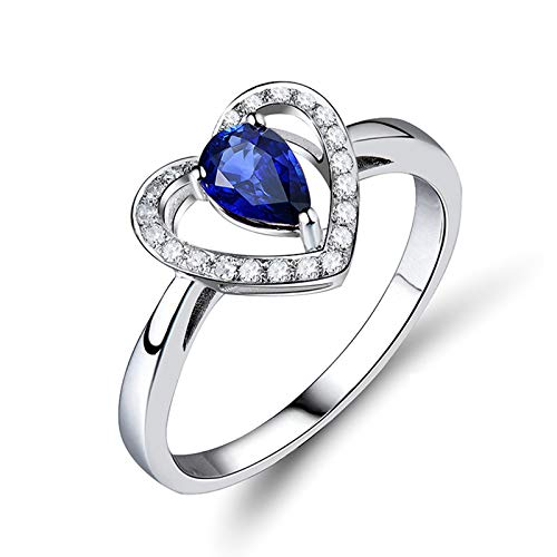 KnSam Wedding Bands, 18K White Gold Hollow Heart 3 Claws Pear Cut Blue Tanzanite 0.55ct IF and 0.11ct Diamond Silver Ring Size Z