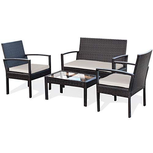Tangkula 4 Piece Conversation Set, with Glass Coffee Table, Loveseat & 2 Single Chairs, Patio Outdoor Garden Lawn Rattan Wicker Chat Set, Outdoor Furniture Set for Small Places (Dark-Brown)
