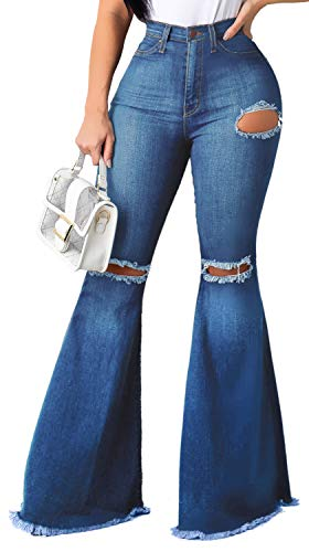 Bell Bottom Jeans for Women Ripped Hole Classic Denim Flare Pants 2074blue-1 X-Large