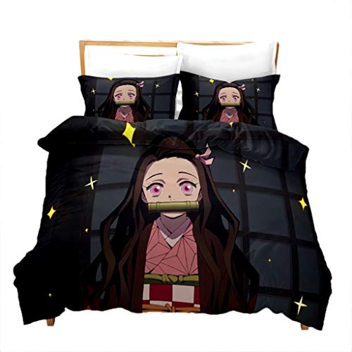 Anime Demon Slayer Bedding Set - Novelty Cartoon Bed Set Cute Nezuko Cosplay Soft Microfiber Duvet...