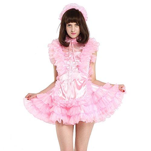 GOceBaby Sissi Mädchen Dienstmädchen ärmellose Satén Puffy Rosa Kleid Kreuzkleid Kostüm (L)