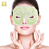 Cold Gel Eye Mask for Sleeping Ice Face Mask with Ear Plug Set, Cold Pack and Warm Treatment for Women, Men, Migraine, Headache, Sinuses Puffy Eyes, Dark Circles, Dry Eyes