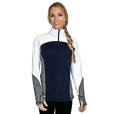 Woolx Rory - Women's Quarter Zip Sweater - Warm Merino Wool Pullover -  Alaskan Blue, Large