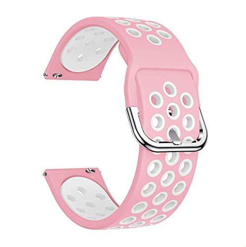 Para varios Huami compatible con Amazfit Smart Watch Correa deportiva de silicona transpirable (color: rosa/blanco, modelo de reloj: Huami compatible con Amazfit Stratos)