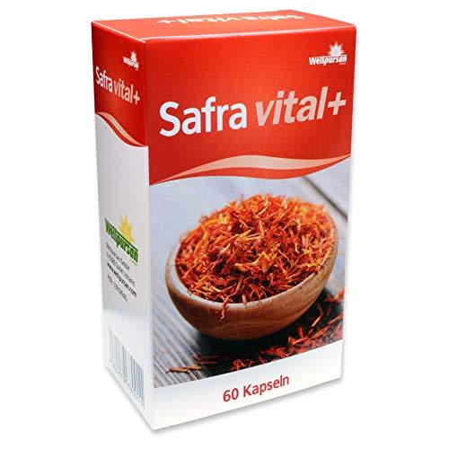 Wellpursan Safra vital + mit Safranfäden-Extrakt, Rhodiola-Rosea-Extrakt und Kakao-Fasern, Nahrungsergänzung, 60 Kapseln
