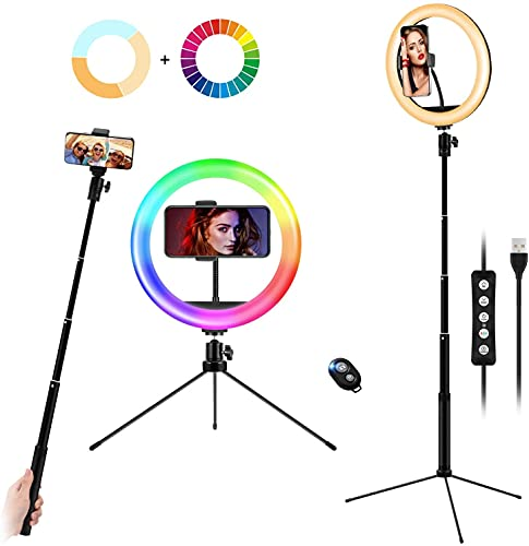 10' Ring Light with Selfie Stick Tripod Stand & Phone Holder, Desktop/Floor Ring Lights for Makeup, 21 RGB Color Modes Circle Light, Height Adjustable LED Ringlight with Remote for YouTube, TikTok