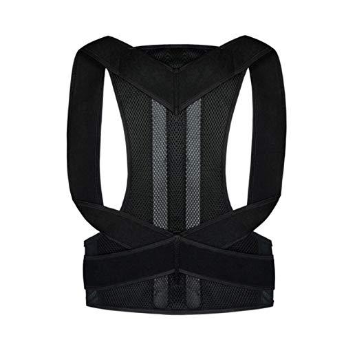 POUAOK Corrector de Postura de Cintura, cinturón de corrección Ajustable para Adultos Entrenador de Cintura Hombro Soporte Lumbar Soporte de Columna Chaleco de cinturón(Color:Black,Size:XX-Large)