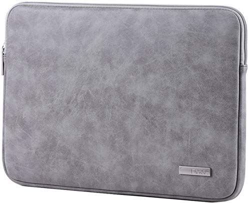 13.3 Inch PU Leather Padded Laptop Sleeve HBLOOMYST 13 Inch Frosted Protective Notebook Bag Computer Case Cover for MacBook Pro MacBook Air Chromebook Acer Dell HP Samsung Sony (Gray)