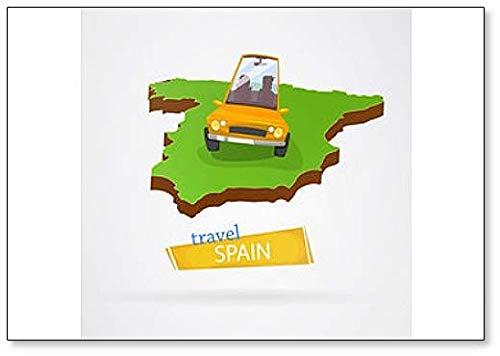 Imán clásico para nevera con ilustración de viaje de España en el coche