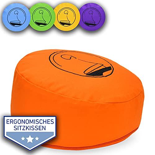 KlarGeist®® ॐ ergonomisches Meditationskissen & Yogakissenis, Ergo Orange Niedrig, flach, rund Bestickt