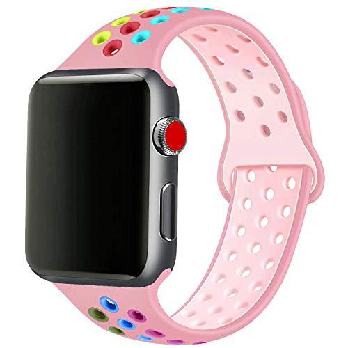 SSEIHI Compatibile con Cinturino Apple Watch 42mm 44mm,Cinturino di Ricambio Sportivo in Silicone Morbido per Cinturino per iWatch Serie 5/4/3/2/1,Sport,Traspirante, Impermeabile,S/M,Pink Color