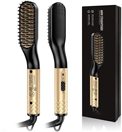Cepillo para alisar la barba, cepillo para alisar el cabello para hombres Cepillo para barba calentado Ceramica Control de calentamiento iónico Cepillo de pelo eléctrico, hogar y viaje