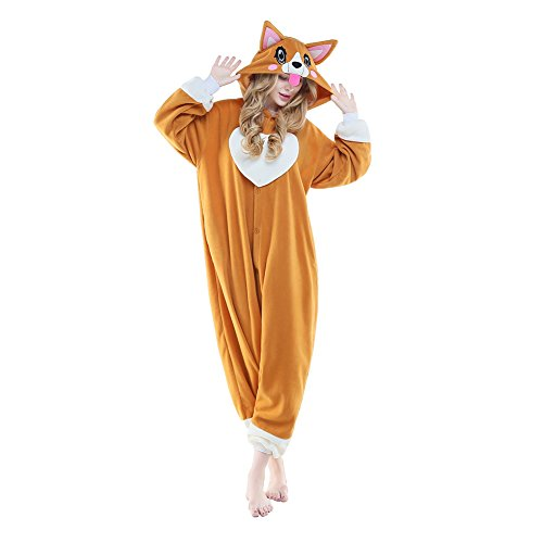 NEWCOSPLAY Adult Unisex Onesie Pajamas Corgi Animal Costume (M, Peach Heart Dog)