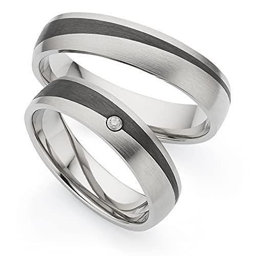 123traumringe Trauringe/Eheringe aus Titan/Carbon in Juwelier-Qualität (Brillant/Gravur/Ringmaßband/Etui)