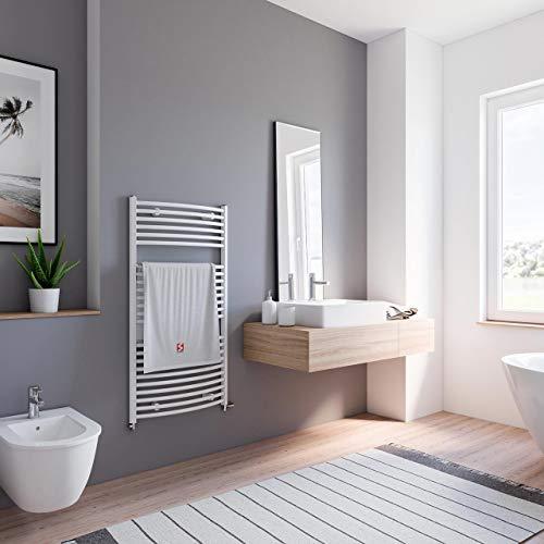 Schulte Badheizkörper Europa, 113 x 60 cm, 609 Watt Leistung, Anschluss beidseitig unten, alpinweiß, Heizkörper mit Handtuchhalter-Funktion, H281135 04