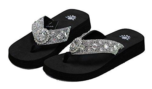 Isabella Women Flip Flop Flat Western Crystal Concho Slipper Bling Rhinestone Sandals (L) Black