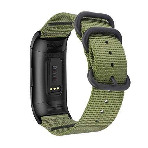 YOOSIDE Nylon Band for Fitbit Charge 3, NOTA Woven Nylon Band Strap with Metal Stainless Steel Ring Adjustable Wristband Band Strap for Fitbit Charge 3 / Fitbit Charge 3 SE (Green)