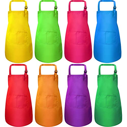 SATINIOR 8 Pieces Kids Apron Kids Cooking Aprons Adjustable Children Chef Apron with Pocket for Boys and Girls Kitchen Cooking Baking Painting (Multi-Color, M for 7-13 Age)