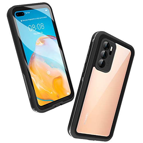 Mishcdea Huawei P40 Waterproof Case Shockproof Snowproof Dirtproof Full Body Protective Case Only for Huawei P40 (Black)