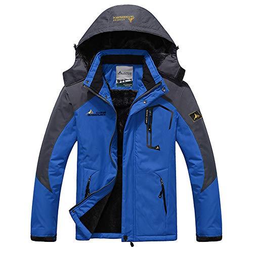 Hommes Manteau Épais Outwear Blouson Sport Escalade Alpinisme Ski Homme Hiver Chaud Sweats à Capuche Polaires Doublé Hoodie Veste Épaisse Sweat-Shirts Outwear Casual,XL,Gris + Bleu