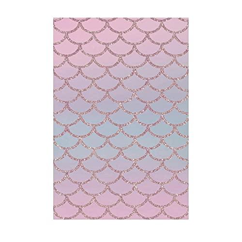 CHENCHAOK Alfombra Estampada en Escala de pez con Degradado de Color 3D, Alfombra para Dormitorio de niña, Alfombra Decorativa para la cabecera de la