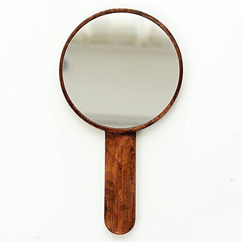 Zfggd Miroir - Bois Massif Portable Haute définition Poignée Miroir/Miroir Salon de beauté à Main Portable Rétro Main 160 * 160 * 130mm