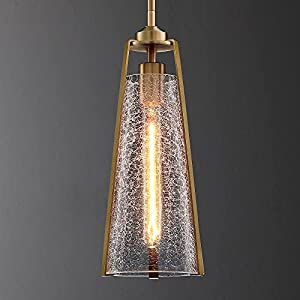 Untrammelife Gold Pendant Light,1-Light Pendant Light Fixtures Adjustable Height,Hand Blown Thick Glass Brushed Brass Finish with Crackle Glass for Kitchen Island Dining Room - Include T10 Bulb