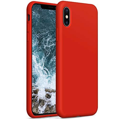 YATWIN Compatibile con Cover iPhone XS Max, Custodia per iPhone XS Max Silicone Liquido, Protezione Completa del Corpo con Fodera in Microfibra, Compatibile con iPhone XS Max 6,5'', Rosso