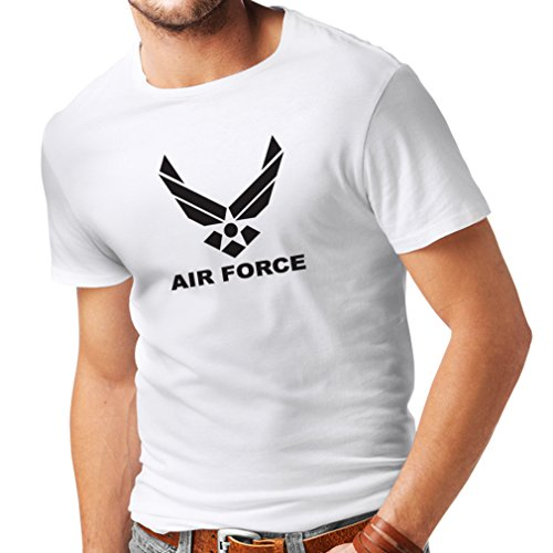 lepni.me Camisetas Hombre United States Air Force (USAF) - U. S. Army, USA Armed Forces (Medium Blanco Negro)