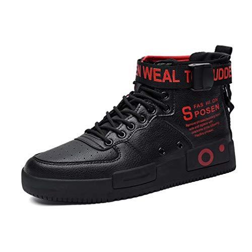 FUSHITON Baskets Mode pour Hommes Chaussures Montantes Chaussures de Course Chaussures de Marche Sport Baskets pour Femme, Noir Rouge, 44 Eu