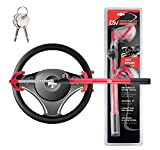 """DSV Standard Twin Hooks Steering Wheel Lock with Adjustable Length for Car, Universal Anti-Theft Security System for Your Vehicle with Extra Keys, Opening & Closing 6.7"""" – 13.8"""" (Inside of Hooks)"""